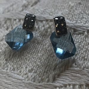 unbranded Jewelry - Vintage 90s Faceted Blue Topaz/Silver Earrings 🦋